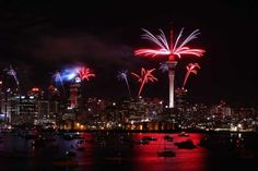 Fireworks over the Auckland waterfront during the Rugby World Cup opening ceremony.