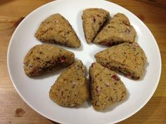 My gluten free cranberry spice scones: 1/2c GF baking mix, 1/2t pumpkin pie spice, 2T sugar, 2T butter, 1/4c fresh cranberries, 1/4c milk or cream. In food processor, mix dry ingredients, add butter and pulse. Add cranberries and milk/cream and gently pulse until it forms a sticky dough (add more liquid as needed). Pick up and knead between hands 10x. Pat into round, dust with flour, cut into 8 wedges. Bake 11-13 min at 400F. Serve hot.