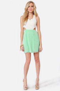 Cute Mint Green Dress - Ivory Dress - Color Block Dress - $49.00