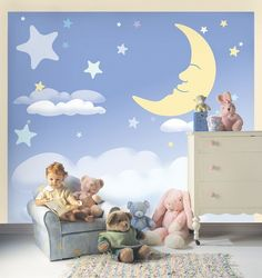 Moon and Stars Wall Murals Stickers for Baby Boy Nursery
