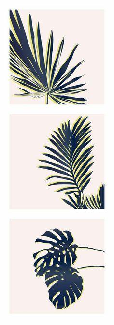 Palm Springs Triptych - Palm Study by Minted Artist Cindy C. Pattern Vegetal, Estilo Tropical, Guache, Stencil Art, Grafik Design, Palm Springs, Wall Art Prints, Graphic Art Prints, Art Photography