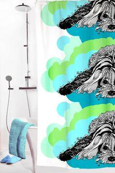 Vallila Interior AW14, Naapurin koira shower curtain blue by Tanja Orsjoki