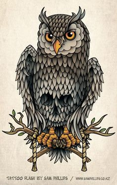 Owl Tattoo Designs | designed this Owl tattoo for Jared Crosswell. Notice the subtle ...