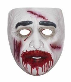 """Transparent Male Zombie Mask - This –"""" Turn me into an instant Zombie"""", clear mask is just what you need. No messy make-up needed. This transparent - full face mask , utilizes your own skin tone while adding a little blood and guts. This easy to use mask is light weight and has elastic backing behind the head. These masks are great for quick party fun with no muss and fuss. #zombie #yyc #costume #mask"""