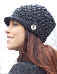 Women's Peaked Cap | Yarn | Free Knitting Patterns | Crochet Patterns | Yarnspirations