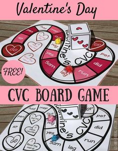 Valentine's Day CVC Board Game - Liz's Early Learning Spot - Miss Kindergarten Here's a sweet and fr Valentines Games, Valentine Theme, Valentines Day Activities, Valentines Day Party, Valentine Day Crafts, Holiday Activities, Valentine Nails, Valentine Ideas, Activities For Kids