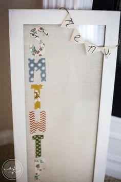 Shabby Chic Kitchen Menu Dry Erase Board