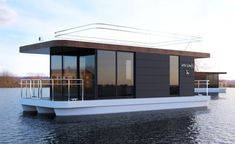 The Boathouse: a new definition to lakefront living! Pontoon Houseboat, Houseboat Living, Camper Boat, Floating Architecture, Terrace Floor, Water House, Unusual Homes, Floating House, Tiny House Movement