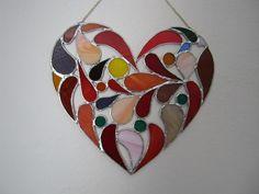 Velké srdce, vitráž - tiffany