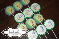 Tinkerbell Cupcake Tops by FreshInkStationery on Etsy, $9.00