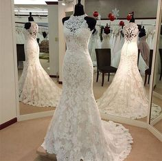Vintage Lace High Neck Mermaid Wedding Dresses 2017 Formal Princess Sleeveless Court Train Illusion Zipper Buttons Bridal Dress Gowns Hot
