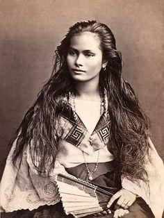 """A mestiza de sangley in a photograph by Francisco Van Camp, c. """"Mestiza de Sangley"""", was the Spanish colonists term for """"mixed Chinese & Indigenous Filipino"""" if referring to a mixed-race person of sangley <Chinese>and indio <local> mix Native American Beauty, Native American History, Native American Indians, American Girl, Native American Photos, American Pride, Sioux, Beautiful People, Beautiful Women"""