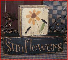 Sunflowers Primitive block Sign by Heresyoursignprim on Etsy, 2x4 Crafts, Primitive Wood Crafts, Wood Block Crafts, Primitive Painting, Primitive Signs, Wooden Crafts, Country Primitive, Crafts To Make, Primitive Stitchery