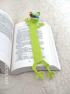 Grenouille verte Marque-pages textile : Marque-pages par doomyflo-crochet