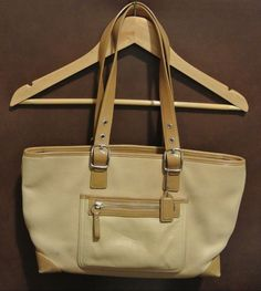 Vintage Coach Tan Beige Leather Purse Handbag Tote Adjustable Strap Drop Clean #Coach #Satchel