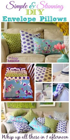 Simple Stunning DIY Envelope Pillow Tutorial how to collage at The Happy Housie/Ck Out Her other DIY pillows. Sewing Pillows, Diy Pillows, Recover Pillows, Decorative Pillows, Throw Pillows, Sewing Patterns Free, Free Sewing, Free Pattern, Crochet Patterns