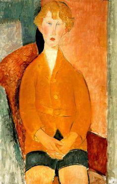 Amedeo Modigliani. Chico con pantalones cortos, 1918. Óleo sobre lienzo. Colección privada. WikiPaintings.org - the encyclopedia of painting