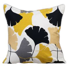 Mustard Yellow Gingko Floral Couch Cushion by TheHomeCentric