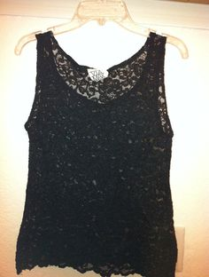 cd4256e52597e FREE US S H - Floral Black Lace Sheer Tank Top Blouse Shell See Through  Sleeveless Pin Up 80s 50s 90s Vintage XS Grunge Goth Festival