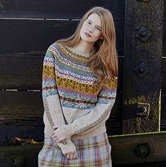 Lovage from Windswept by Marie Wallin. A traditionally inspired Fairisle yoke sweater handknitted using Rowan Fine Tweed.