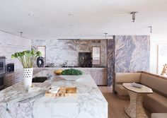 Stone is making its way back into homes in a big way in 2017. Rustic looks and reclaimed wood continue to be usedto create amodern farmhouse look and feel, but they're nowsharing the limelight with thisdramatic, organic material integrated into interiors in a much bigger way than granite countertops. Stone, like travertine, marble and limestone, is making appearances on wall surfaces as seen above in interior designerKelly Wearstler's beach housein the Fall 2016 edition ofInSt...
