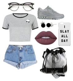 """""""Look"""" by lizi-cosmos on Polyvore featuring мода, Levi's, WithChic, NIKE, Carianne Moore, Bling Jewelry и Lime Crime"""