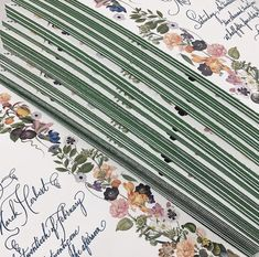 The green edges on this stationery brought the design to life! Stationery Items, Painting Edges, Shades Of Green, Paper, Floral, Wedding, Instagram, Office Supplies, Design