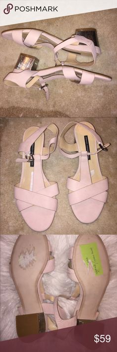 Gently worn French Connection blush size 9 sandals These are a perfect mix of neutral with just the right shade of blush tone! They are a size 9 and gently worn only for a few hours for a modeling gig! The heel on the shoes are absolutely adorable and add such a fun touch to an otherwise ordinary neutral sandal! The flash makes them look a little brighter pink than they actually are they are more of a true blush soft neutral rather than a baby pink.  I will be listing several size 9 shoes if…
