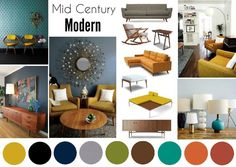 Best color scheme....Mid Century Modern Interior Mood Board created on www.sampleboard.com