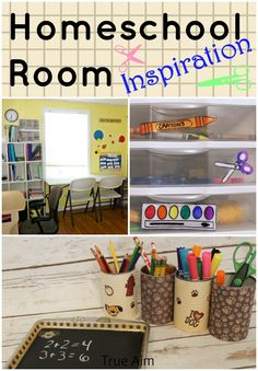Homeschool room ideas and organization.  Lots of DIY projects