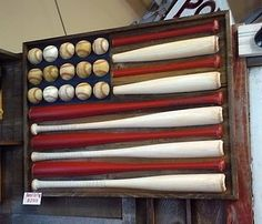 baseball bat and ball american flag for boys room art