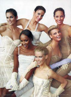 Linda Evangelista, Naomi Campbell, Cindy Crawford, Stephanie Seymour, Claudia Schiffer, and Christy Turlington - Vanity Fair September 2008