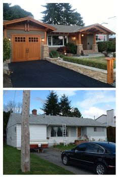 Ranch Style Home Exterior Makeover To A Craftsman Style Home Exterior Makeover, Exterior Remodel, Paint Colors For Home, House Colors, Exterior Paint, Exterior Design, Stucco And Stone Exterior, Garage Exterior, Exterior Signage