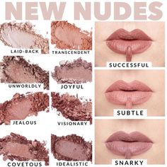 New Nude Shades of Younique Lipstick and Eye Shadow – Younique Makeup, Skincare … - Makeup Tips Lips Younique Lipstick, Lipstick Art, Liquid Lipstick, Makeup Tips Younique, Satin Lipstick, Nude Eyeshadow, Mascara Tips, Lipsticks, Beauty Makeup
