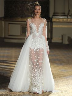 Berta Spring/Summer 2018 illusion neckline wedding dress with 3D flowers and detachable tulle train