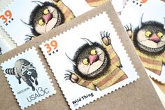 Where the Wild Things Are Party Invitation Postage Stamps Birthday Shower Invite Stamps Maurice Sendak Stamp Set; Mails 5 Envelopes
