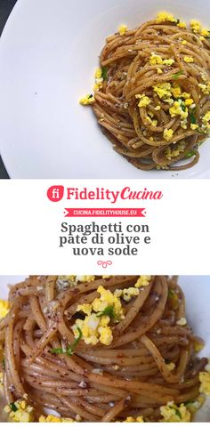 Spaghetti con patè di olive e uova sode