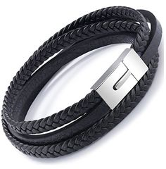 OSTAN Herren Schmuck Gothic Leder Seil Geflochten 316L Edelstahl Armband Armreif - Schwarz