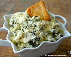 Spinach Artichoke Dip lovers...I'm about to make your LIFE!! Yes, for real...a #CleanCheat recipe from our book #ExtremeTransformation that will blow your mind and not your diet.
