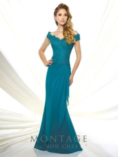 55068cb737 Montage By Mon Cheri 116937 - Off-the-shoulder chiffon and lace fit and  flare gown