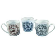 Kaffeebecher Time for Coffee; Maße 8,8 x 9 cm; Fassungsvermögen 275 ml; Porzellan; spülmaschinen- und mikrowellengeeignet