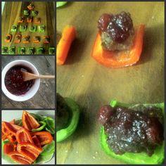 Paleo Grass-Fed Beef Meatballs on Bell Pepper Sliders w/ Cranberry Glaze
