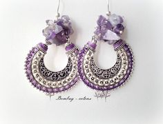 Purple amethyst earrings Silver and amethyst gemme par Bombaycotons