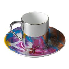 Cataclysmic anamorphic cup and saucer by Damien irst #Damien_Hirst #Cup_and_Saucer
