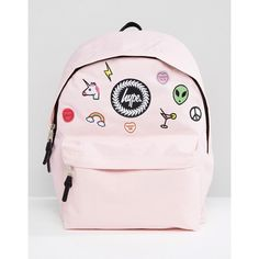 Hype Pink Patches Backpack (118.700 COP) ❤ liked on Polyvore featuring bags, backpacks, pink, pink bag, polyester backpack, patch backpack, top handle bags and day pack backpack