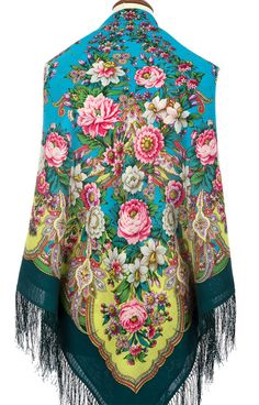 "russian shawl 57"" woolen with silk fringe genuine Pavlovo Posad  babushka new with tag"