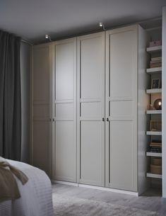Ikea Pax Wardrobe, Bedroom Wardrobe, Wardrobes For Bedrooms, Built In Wardrobe Doors, Ikea Pax Closet, White Fitted Wardrobes, Double Wardrobe, White Wardrobe, Wardrobe Wall