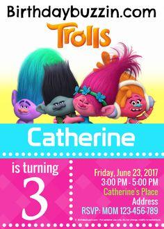 Free printable trolls birthday invitations