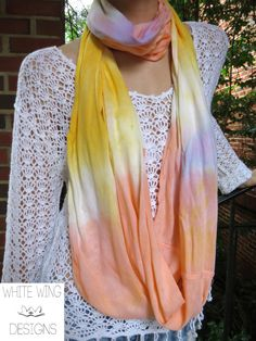 Multicolored Yellow and Orange Rayon Infinity by WhiteWingDesigns, $35.00