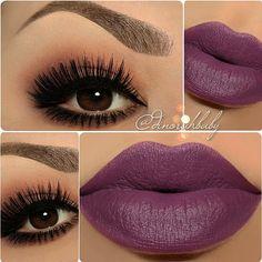 plum lips, winged liner, smokey lower lashline @dinorahbaby | #makeup w/ purple lipstick + lots of lashes